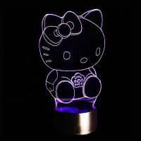 Светильник 3D Китти, цвета в ассортименте