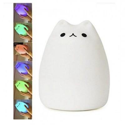 Силиконовый сенсорный ночник LED Котик (белый)