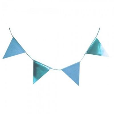 Гирлянда флажки с глиттером (голубые)
