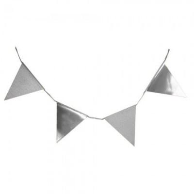Гирлянда флажки с глиттером (серебро)