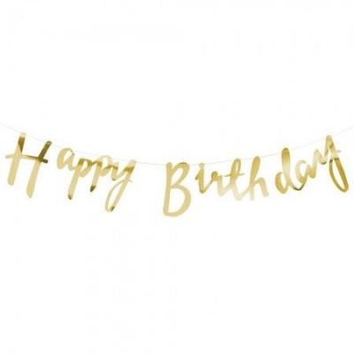 Гирлянда фольгированая Happy Birthday (золото)