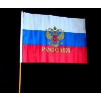 Флаг Россия большой на палке (высота 60 см)