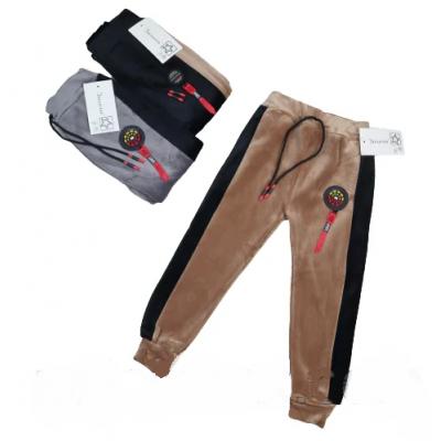 """Детские теплые спортивные штаны из мягкого плюшевого велюра на МЕХУ, на мальчика (3-9 лет), """"Золото"""""""