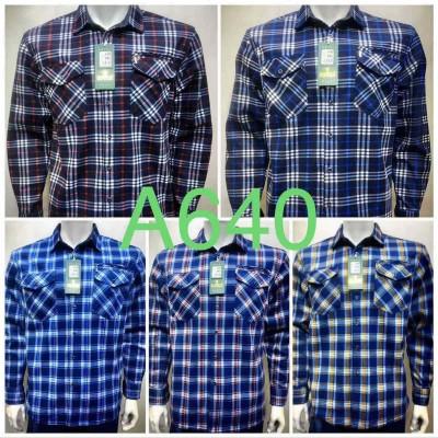 Рубашка мужская на флисе в клетку, 3 кармана (6XL-10XL,батал)