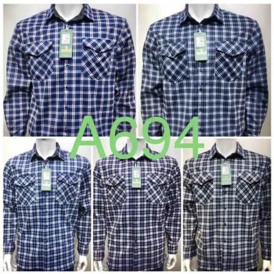 Рубашка мужская на меху в клетку, 2 кармана (6XL-10XL,)