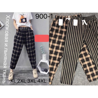 Трендовые молодежные хлопковые брюки. Клетка, полоска. №900-1Ю Размеры ХL-4ХL.