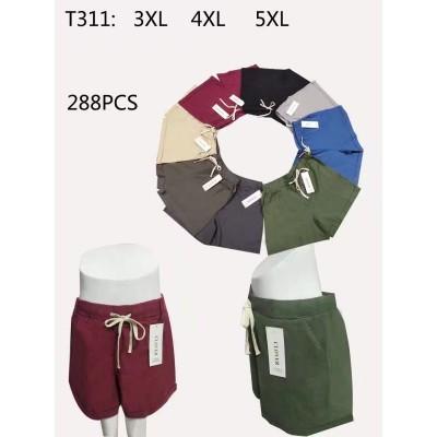Женские котоновые шорты  (р-р 3xl-5xl) CLOVER 311 (в уп. один цвет)