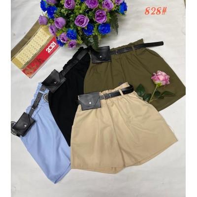 Стильные женские хлопковые шорты с ремнем, (коттон) много цветов. Размеры: 42-44; 44-46; 46-48