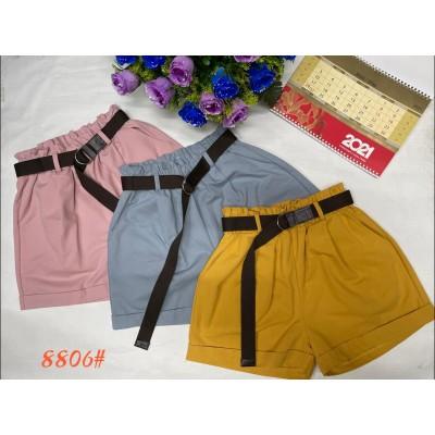 Стильные женские шорты с ремнем, коттон, много цветов. Размеры: 42-44; 44-46; 46-48