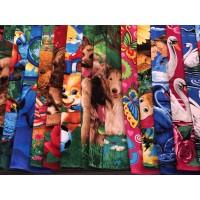 Полотенце пляжное (размер 140х70 см, материал махра, рисунки и цвета в ассортименте, Китай)