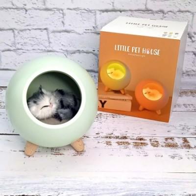 Ночник LED Спящий кот в домике зеленый