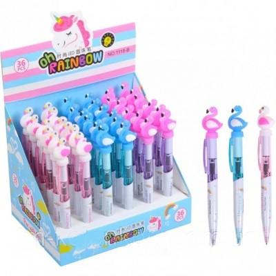 Ручка шариковая автоматическая Фламинго СВЕТИТСЯ
