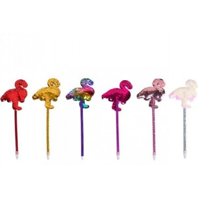 Ручка масляная пайетки Фламинго синяя