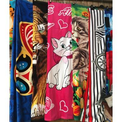 Полотенце пляжное велюр, размер 70*140, расцветки в ассортименте