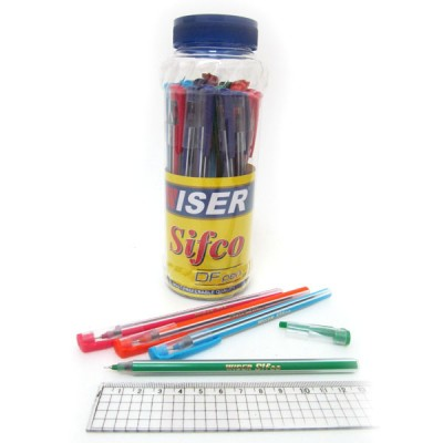 "Ручка масляная Wiser ""Sifco"" 0,6мм банка/30шт, корпус mix, синяя"