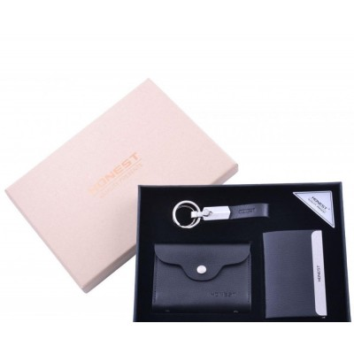 Подарочный набор-визитница(мет)/ брелок/ визитница(кожа) №3042