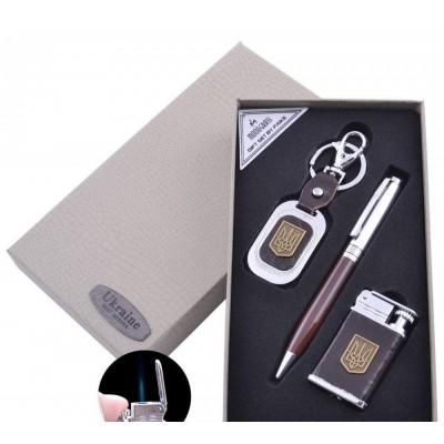 Подарочный набор брелок/ручка/зажигалка Украина (Острое пламя) №ST-5622