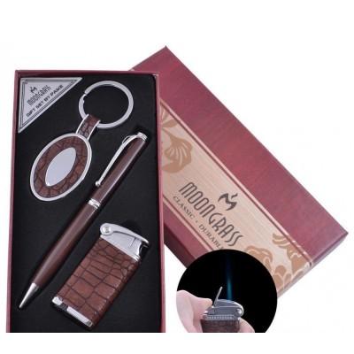 Подарочный набор брелок, ручка, зажигалка (Острое пламя) №AL-011