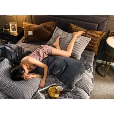 Комплект постельное белье плюшевый шарпей, размер евро
