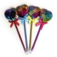 """Ручка шарик. син. с пайетками """"Разноцветное сердечко"""""""