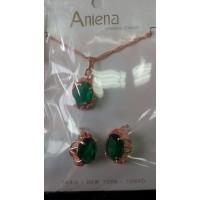 Набор украшений с зеленым камнем Aniena (серьги ,кулон на цепочке и кольцо)