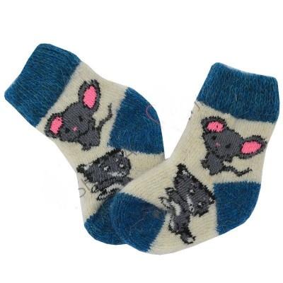 Вязаные шерстяные носки детские, рисунки в ассортименте