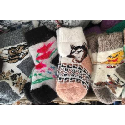 Вязаные шерстяные носки детские 4-6 лет, рисунки в ассортименте