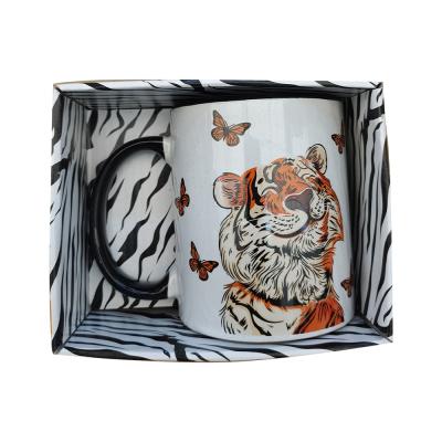 Кружка фарфоровая Тигр, 380мл. Кол-во дизайнов: 3