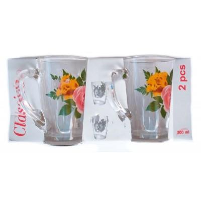"Набор чашек ""Classico"", 2 чашки (конус), объемом — 300 мл. Стекло. В ассортименте"