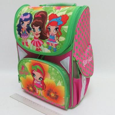 """Рюкзак коробка """"Little girls"""" 13,5'' 3 отд., ортопедическая спинка, светоотраж."""