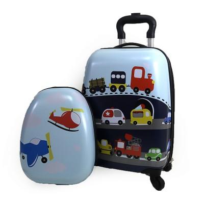 Чемодан детский на 4 колесах 16 +рюкзак 13, Машинки