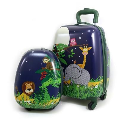 Чемодан детский на 4 колесах 16+рюкзак 13, Животные