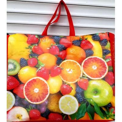 Женская эко сумка ламинат, размер 42x35x12см, расцветки фрукты