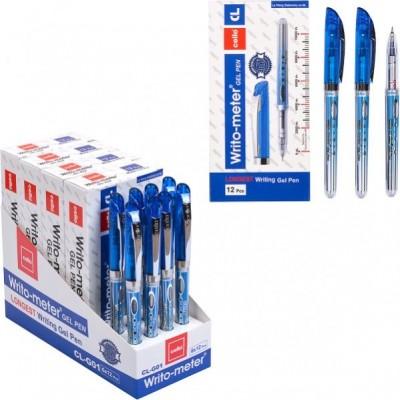 Гелевая ручка, 1500 метров, сменный стержень, толщина 0.5мм, синий цвет.
