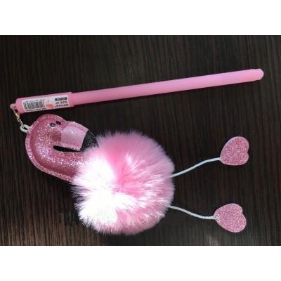Ручка гелевая с брелком Фламинго, цвета в ассортименте