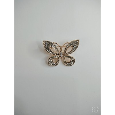 Брошь бабочка в металле под золото с белыми стразами