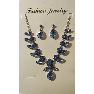 Набор серьги и колье в белом металле с голубыми кристаллами