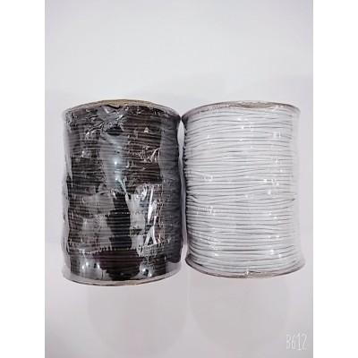 Резинка шляпная круглая (эластичный шнур) цвет чёрный и белый, диаметр 1,5мм, бобина 100м