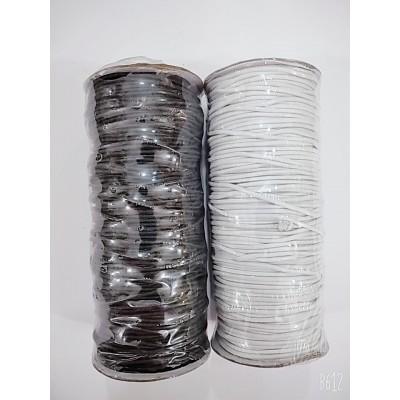 Резинка шляпная круглая (эластичный шнур) цвет чёрный и белый, диаметр 2мм, бобина 100м