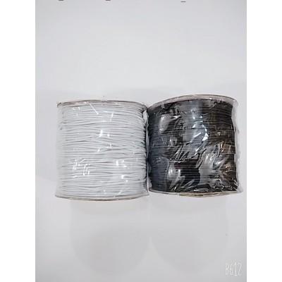 Резинка шляпная круглая (эластичный шнур) цвет чёрный и белый, диаметр 1мм, бобина 100м