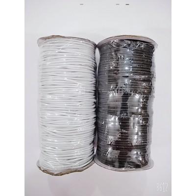 Резинка шляпная круглая (эластичный шнур) цвет чёрный и белый, диаметр 3мм, бобина 100м