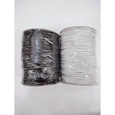 Резинка шляпная круглая (эластичный шнур) цвет чёрный и белый, диаметр 4мм, бобина 100м