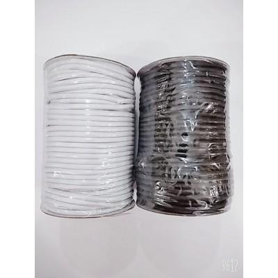 Резинка шляпная круглая (эластичный шнур) цвет чёрный и белый, диаметр 5мм, бобина 100м