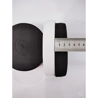 Резинка широкая 2,5см, на бобине 25м, цвет белый и чёрный