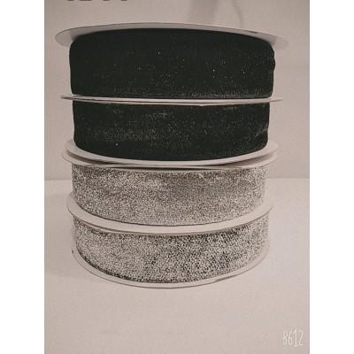 Косая бейка чёрная велюровая с люрексом 4см, 25 ярдов, цена за бобину