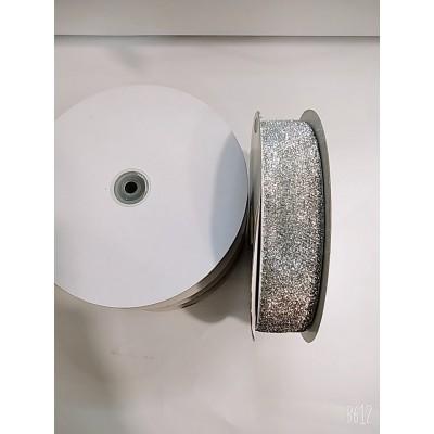 Косая бейка серебро велюровая с люрексом 4см, 25 ярдов, цена за бобину
