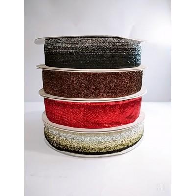 Косая бейка велюровая бархатная с люрексом 4см, 25 ярдов, разные цвета, цена за бобину