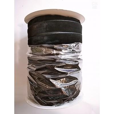 Косая бейка велюровая бархатная 2см, 50 ярдов, цвет чёрный, цена за бобину