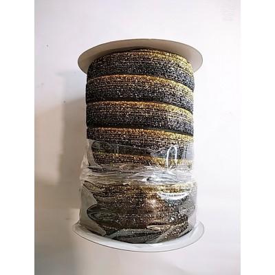 Косая бейка велюровая бархатная с люрексом 2см, 50 ярдов, разные цвета, цена за бобину