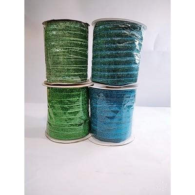 Косая бейка велюровая бархатная с люрексом 2см, 50 ярдов, цвет зелёный и синий, цена за бобину